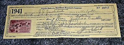 Rare Early 1941 North Dakota Hunter's License and Bird Stamp