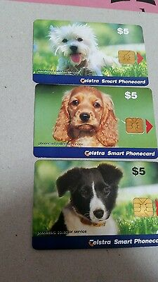 SET X3 Chipcards showing Dogs from the phonecard Collector Service
