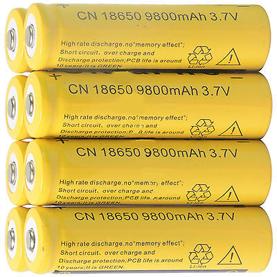 8pcs 18650 3.7V 9800mAh Yellow Li-ion Rechargeable Battery Cell For Torch EK