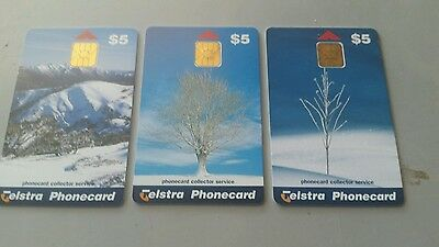 SET X3 $5 MINT PHONECARDS Scenes from  Winter  Chipcards by Collector Service