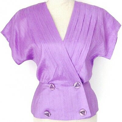 Vintage Purple Retro Buttons Peplum Blouse Sz S