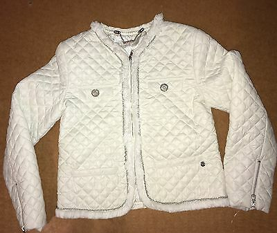 Young Girls Age 7 Miss Grant White Embellished Quilted Zip Front Jacket