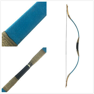 Archery Hunting Longbow Blue Pigskin Recurve Bow HorseBow 25-45lb Christmas gift