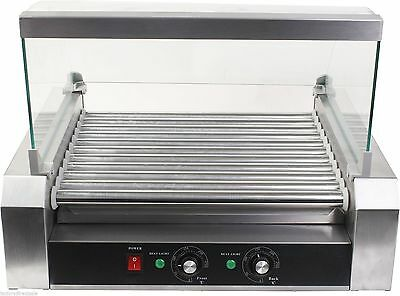 New Commercial 30 Hot Dog 11 Roller Grill Cooker Grilling Machine W/ cover CE