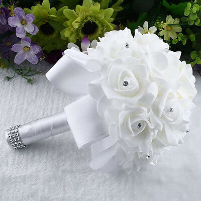 Crystal Roses Pearl Bridesmaid Wedding Bouquet Bridal Artificial Silk Flowers UK