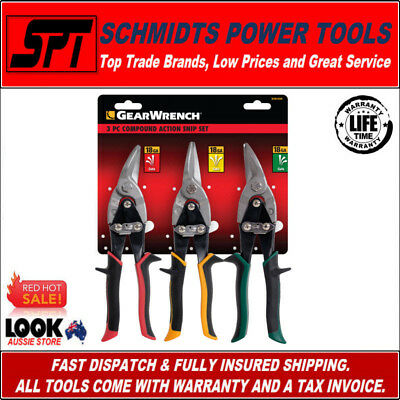 Gearwrench Metal Cutting Snips 3 Pce Tin Snip Set 82843Au Left, Right & Straight