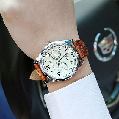 Fashion Lover's Men's Shinning Glass Leather Analog Quartz Sport Wrist Watch