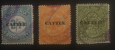 3x Victoria Stamp Duty Overprint Cattle Used Australia Stamps