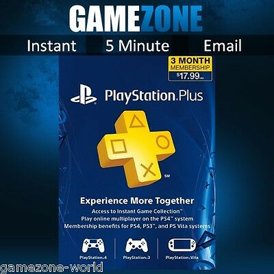 PlayStation Plus PSN 90 Days USA Code - PS US Store 3 Month Card Key - SONY PS4