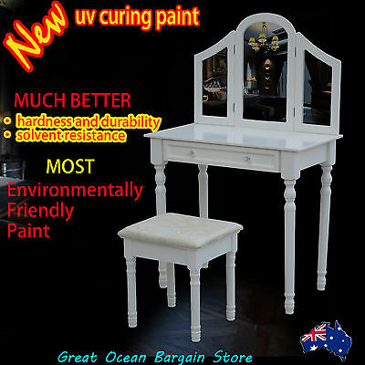 Elegance Dressing Table Makeup Vanity Big Drawer with Stool Set and 3 Mirrors