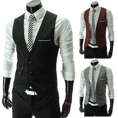 Slim Fit Mens Suit Vest Male Waistcoat Casual Sleeveless Formal Business Jacket