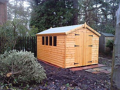 "10X8 Apex Wooden Garden Shed  13Mm T/g ""2X2 ""cls Frame 1"" Thick Floor"