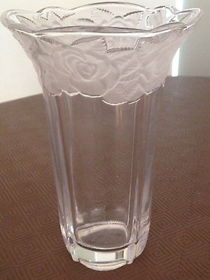 Classic Vintage Glass Vase with Frosted Cut Glass Adornment