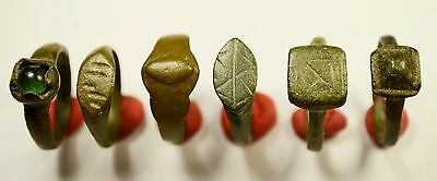 Rare Lot Of 6 Roman / Medieval Decorated Wearable Rings - Great Artifacts
