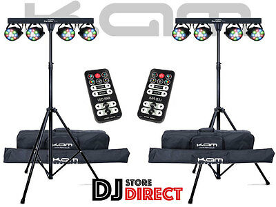 2X Kam PartyBar ECO's - LED Lighting System inc Stand, Remote and Bags FREE P&P