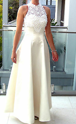 VINTAGE IVORY 1970's Wedding Dress polester/ Satin with French Lace Size 8