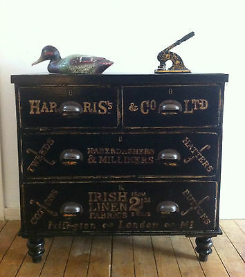 Victorian ebonised chest of drawers with sign painted type, Haberdashery