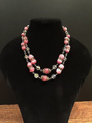 Stunning Vintage Glass Bead Necklace Italian 1940's 1950's Pink Murano Crystal