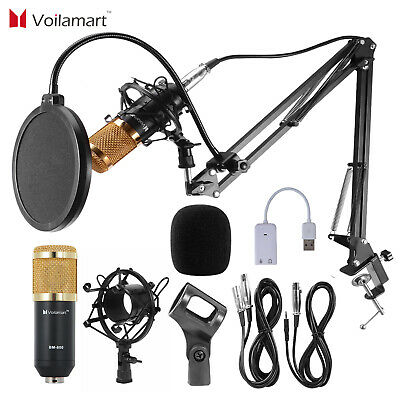BM800 Condenser Microphone Kit Studio Audio Pop Filter Arm Stand Shock Mount
