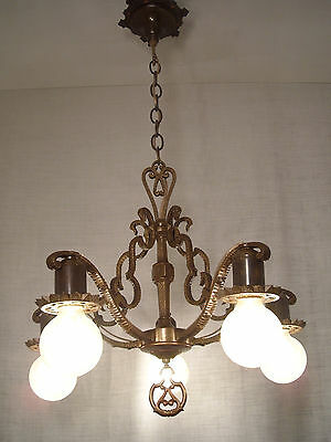 1920's MidWest Bronze Tudor Chandelier RESTORED Antique Ceiling Light Fixture