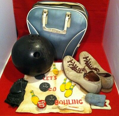 Vintage Bowling Ball Bag Shoes Black Beauty Towel And Accessories Complete