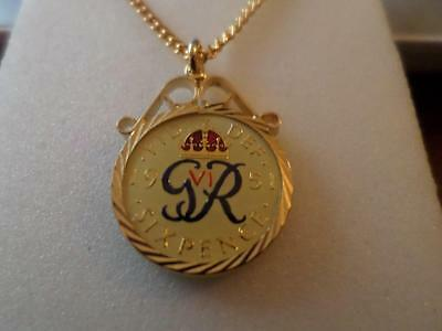 Vintage Enamelled Sixpence Coin 1951 Pendant & Necklace. Birthday Xmas Present