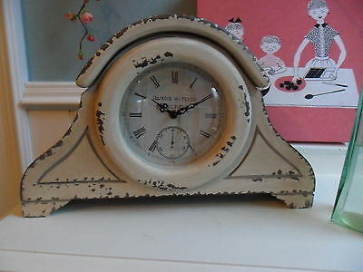 Large Art Deco Vintage Antique Aged White Wood Station Clock Table Shabby Chic