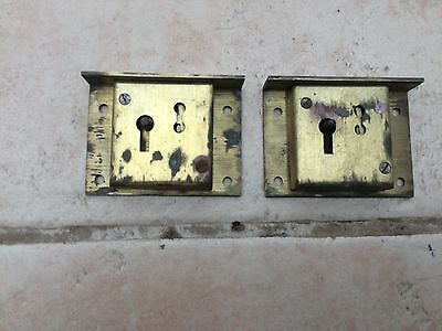 Pair of Antique/Vintage Brass Drawer Locks