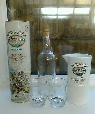 Beautiful BOWMORE WHISKY collection, inc. water jug and tin.