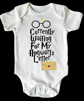 Waiting For My Hogwarts  Letter Harry Potter Baby Vest/ Grow White