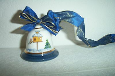 Winter Birdhouse With Bird Collectible Ceramic Bell