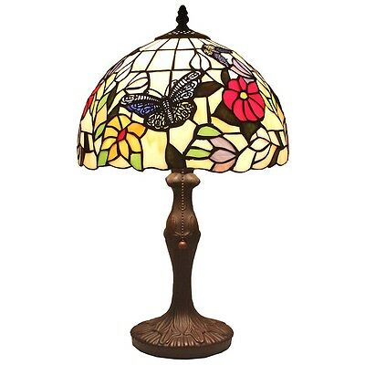 """Bieye Tiffany Style Stained Glass Butterfly Flower Table Lamp Handmade 12""""W 18""""H"""