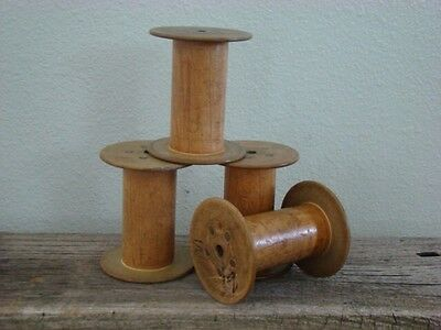 "4 UNIQUE SMALL ANTIQUE WOOD SPOOLS....natural Ends..under 4""...primitive Decor"