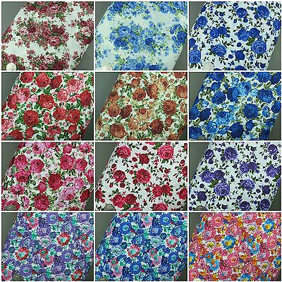 Floral Cotton Fabric Roses Vintage Material per Metre High Quality PolyCotton