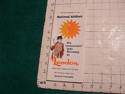 Vintage High Grade AIRLINE brochure: NATIONAL AIRLINES london timetable 1970 32p