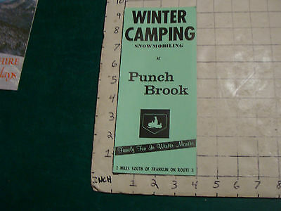 Vintage High Grade Brochure: WINTER CAMPING snowmobiling at PUNCH BROOK 1973