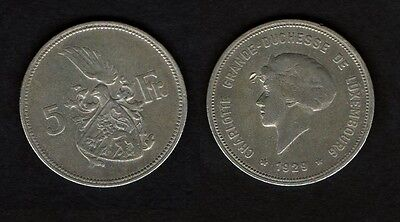 m4872 Luxemburg Luxembourg 5 Francs 1929 Silber  Charlotte 1914 - 1964