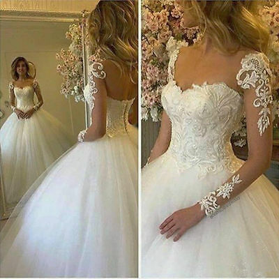 New White Ivory Lace Long Sleeve Wedding Dress Bridal Gown Custom 6+8+10+12+14++