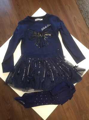 Girls BOBOLI Navy Daimonte Detailed Skirt, Top & Tights Outfit Age 4 - 5 year