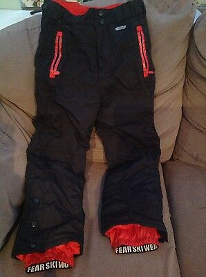 Black and red No Fear ski trousers size 7-8