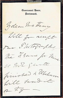 Augusta of Saxe Weimar Signed 1884 letter from Govt House, Portsmouth