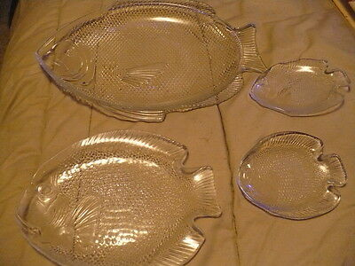 Vintage Large Oven proof plater ,and three fish plates from France