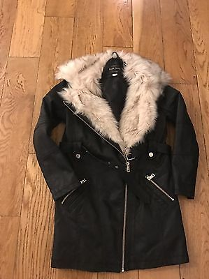 Girls River Island Faux Leather Jacket Coat In Great Condition Age 11 Faux Fur