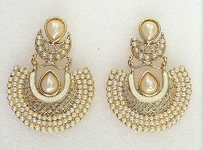 Indian Ethnic Bollywood White Gold Pearls Bridal Wedding Party Jewelry Earrings