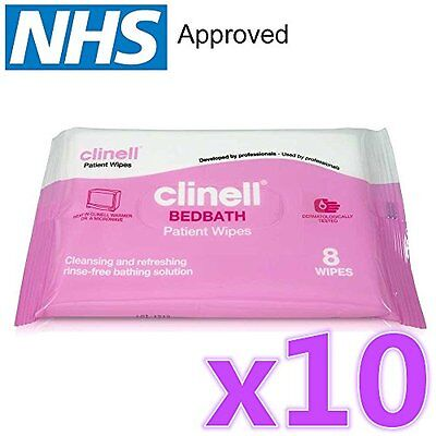 10 x Clinell? Bedbath Bed Bath Patient Wipes Pack of 8 Moisturising Bathing and