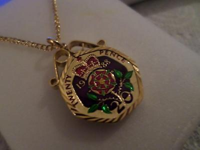 Vintage Enamelled 20 Pence Coin 1988 Pendant & Necklace. Birthday Xmas Present