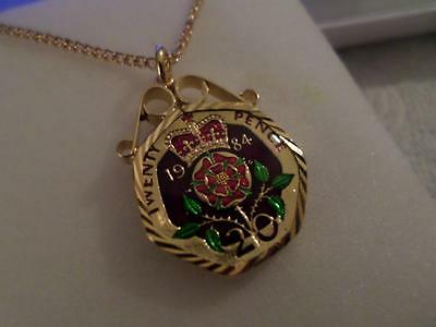 Vintage Enamelled 20 Pence Coin 1984 Pendant & Necklace. Birthday Xmas Present