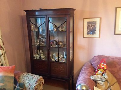 Mahogany Display Cabinet 34 by 12 by 70 Inches. Inlaid Good Condition REDUCED