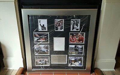 F1 display hand signed by james hunt.graham hill.mercedes lewis hamilton