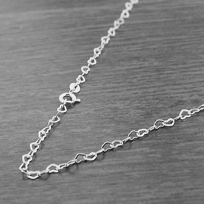 """Solid 925 Sterling Silver 18"""" 3mm Heart Link Chain Necklace"""